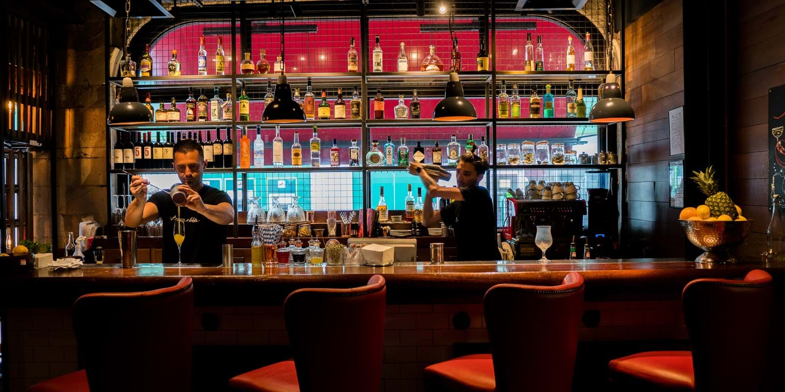 The bar at Burger & Lobster Bond Street London